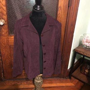 Faux suede Purple button-up Blazer